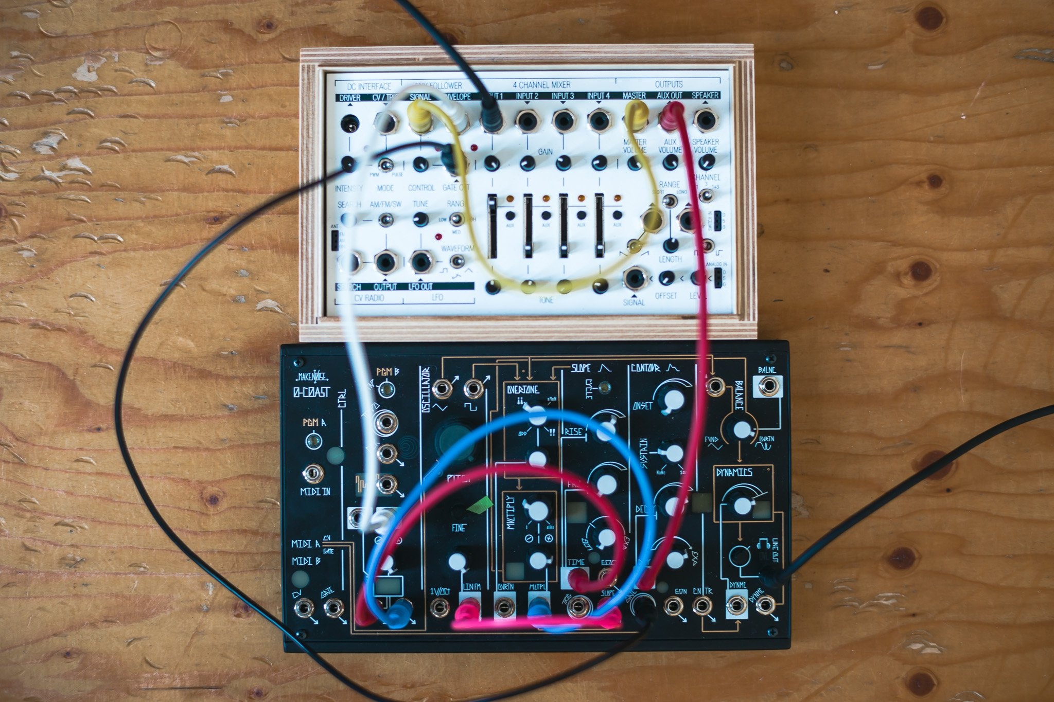 Analog patching with a MakeNoise 0-coast and a KOMA FieldKit for the Half-closed loop performance at No Patent Pending #28